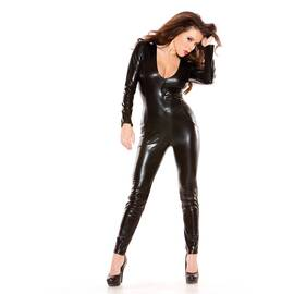 sexy kitten catsuit black o/s