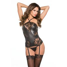 kitten lace & wet look corset o/s