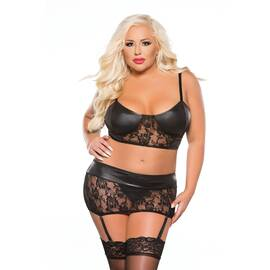 kitten lace & wet look top & garter 3pc