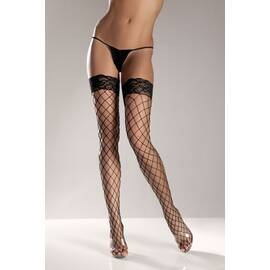 (d) black spandex thigh high f net w/ stay up lace t0p