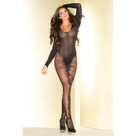 (wd) sheer open crotch long sl flame bodystocking w/plunging neckline o/s