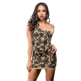 naughty girl camo dress one shoulder o/s (net)
