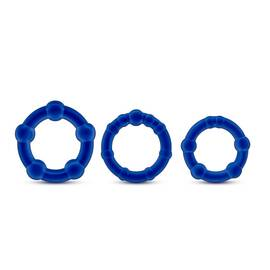 stay hard beaded cockrings 3pc set blue