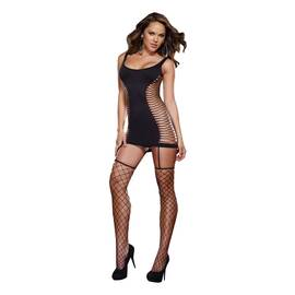 opaque fence net garter dress black o/s