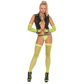 fishnet thigh high neon green