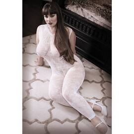 lace edge bodystocking white queen size