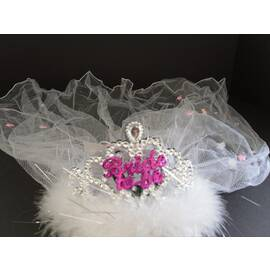 bride 2b tiara flashing white fur veil