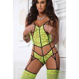 2pc open cups garter teddy- bustier w/ open crotch electro neon