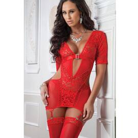 3pc lacy garter mini dress & stockings
