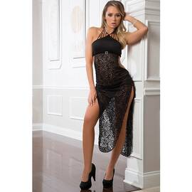 2pc shoulder baring laced night dress black