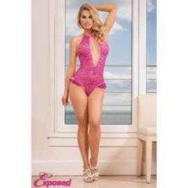 keyhole teddy w/ snap crotch pink medium