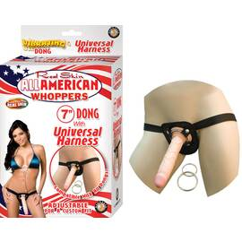 all american 7in dong w/universal harness flesh