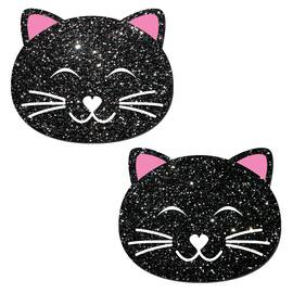 kitty cat black glitter