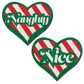 pastease naughty & nice heart green red & white velvet