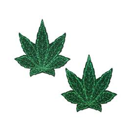 pastease indica pot leaf glitter green weed nipple pasties