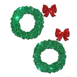 pastease peek a boob green glitter wreath w/red glitter bow