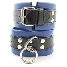 restraint ankle soft leather black/blue