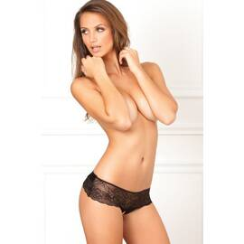 crotchless lace thong w/bow black m/l (net)