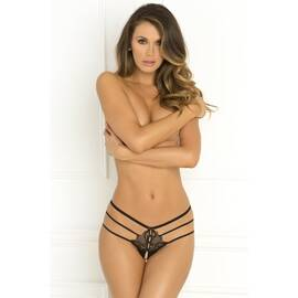 crotchless wanted & wild panty black s/m (net)