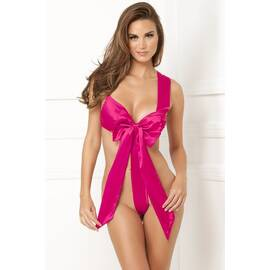 satin bow teddy hot pink m/l (net)