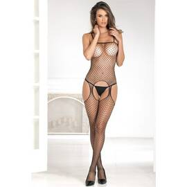 industrial net suspender bodystocking black o/s (net)