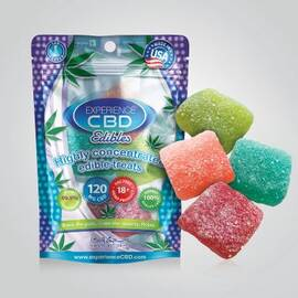 (d) experience cbd 120mg sour gummy cubes 4pc (net)