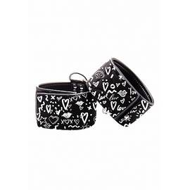 love street art fashion printed hand cuffs black