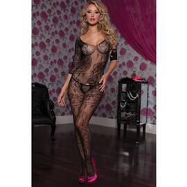 swirl lace body stocking o/s black