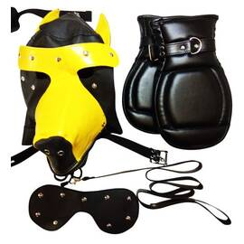 basic puppy play kit 2 tone black/yellow mask tail mitts carry pack