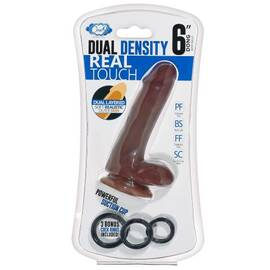 cloud 9 dual density dildo touch 6in w/ balls brown