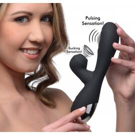 inmi shegasm 5 star 10x silicone suction & pulsating rabbit- black
